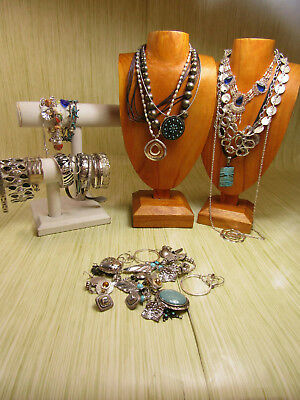 Silver Tone Costume Jewelry Lot Snake Bracelets Cord Necklaces AS IS
