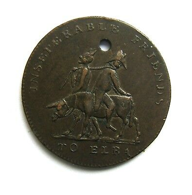 To Elba Medalet 1814 - Devil And Napoleon 'inseperable Friends'