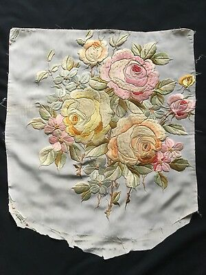 Beautiful large French antique floral raised embroidery