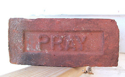"ANTIQUE ""PRAY"" BRICK  New England GREENFIELD MA  Brickyard Red Clay ~F~"