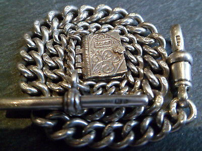 Antique English Hallmarked 1848 Solid Silver Grduated Albert Pocket Watch Chain