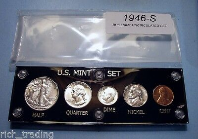 1946-S MINT SILVER SET of U.S. COINS LUSTROUS BRILLIANT UNCIRCULATED up to GEM