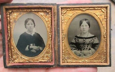 2 Different Cased Tintype Images of The Same Young Lady Nice No Reserve