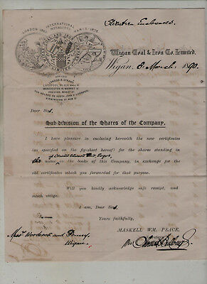 Wigan  Coal  &  Iron  Shares  Letter.