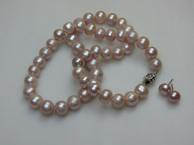 Light Pink Pearl Beaded Jewelry Set Necklace Stud Earrings