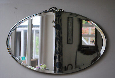 original  attractive art deco era oval bevel edged wall mirror