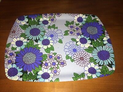 A Vintage Retro 1960 70's Floral Flower Power Blue Green Drinks Tea Serving Tray