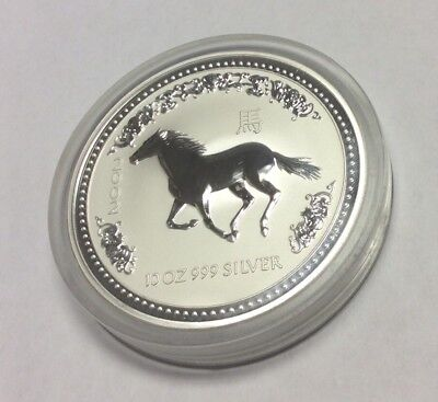 2002 Australia 10 Oz 999 Silver Year Of The Horse Coin w/ Capsule