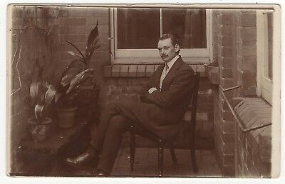 Young Gentleman Seated In Chair Outside House Old Real Photo Postcard