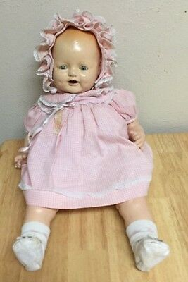 """1920'S EIH HORSMAN DIMPLES COMPOSITION DOLL Tin EYE 20 """" tagged dress"""
