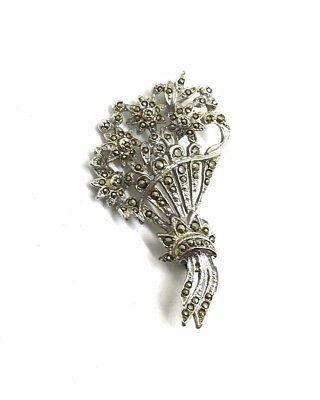 Vintage marcasite brooch on silver tone in flower bouquet design circa 1950s