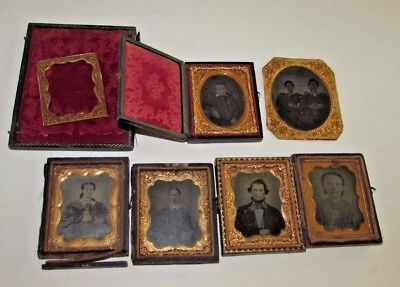 Lot Antique Case Tintype Photos Young Ladies Men Little Boy Hand Tinted Jewelry