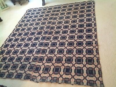 """Antique Coverlet 83 1/2"""" X 70 1/4"""" Unknown Pattern 3 Colors Mid Seam Double Side"""