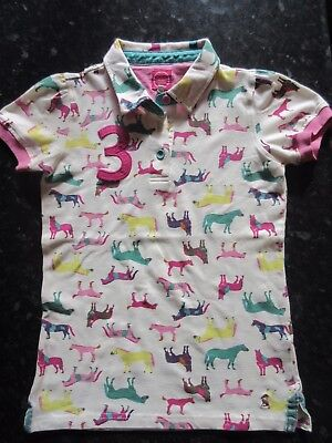 Joules Girls Polo-Shirt Junior Lena - Cream with coloured ponies Age 11-12 years