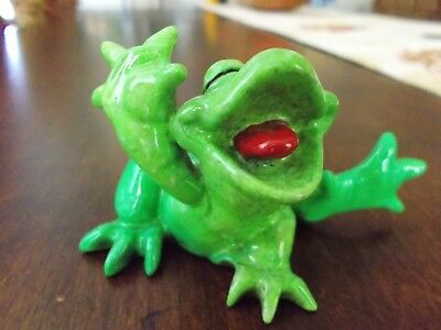 Kitty's Critters Frog Figurine, Curly 2009, Retired,Pre-Owned