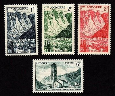 French Andorra 1955-58 Lot of 4 Stamps Scott # 124-126, 128 Unused