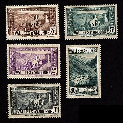 French Andorra 1932-43 Lot of 5 Stamps Scott # 23-26, 46A Unused