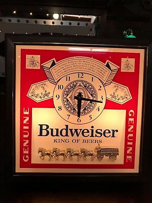 "Budweiser Beer Lit Bar Clock with Clydesdale Horse ""WATCH VIDEO"""