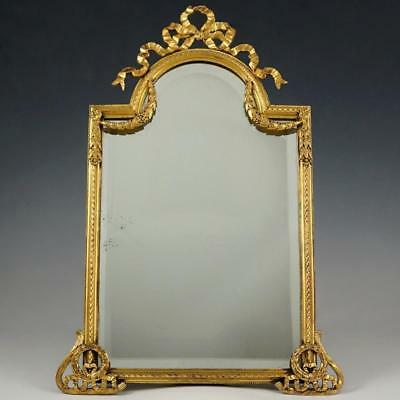 Large Antique French Gilt Bronze Mirror, Neoclassical Decoration, Thick Beveled