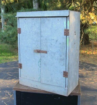 Vintage Industrial Barn Gas Station Garage Galvanized Metal Storage Cabinet