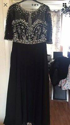 stunning black sparkly prom evening dress fit a size 14 - 16