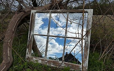 VINTAGE SASH ANTIQUE WOOD WINDOW PICTURE FRAME PINTEREST 36x28 MIRRORS RUSTIC