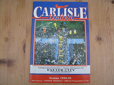 CARLISLE UNITED v EXETER CITY . MATCH PROGRAMME . BRUNTON PARK 10th Sep 1994