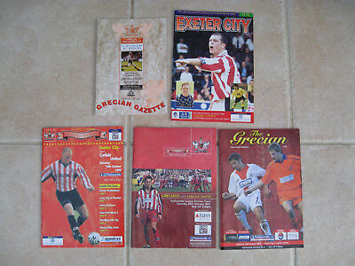 EXETER CITY v CARLISLE UNTED. 5 PROGRAMMES. St JAMES PARK 1995/1998/1999/2001/03