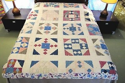 FULL Vintage THICK Old Cotton Fabrics Hand Sewn Tied NINE PATCH QUILT, Comforter
