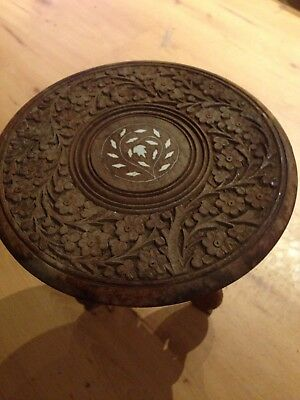 Vintage Hand Carved Wooden Indian Side Table Lamp Table Plant Stand