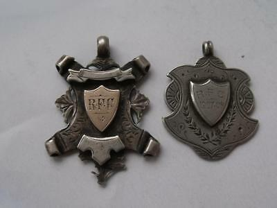 2 Antique Solid Sterling Silver Watch Fob Medallions: 1904 & 1908