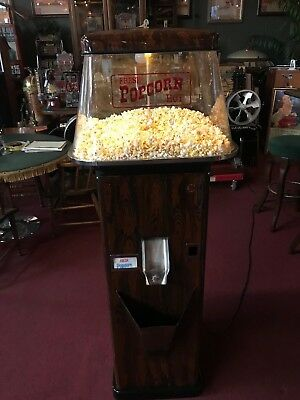 "1950's MILLS Popcorn Vending Machine with Woodgrain Paint Job ""Watch Our Video"""