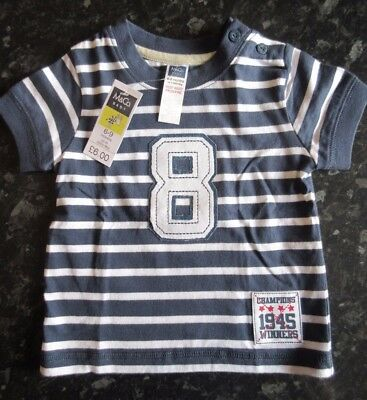 New: Boys-M&Co. short sleeved t-shirt, navy and white, age 6-9 months (9 Kg)