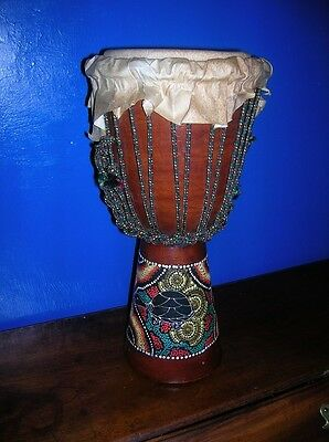 Ethnic African BONGO Turtle Painted vgc 15ins High Musical Instrument Drum