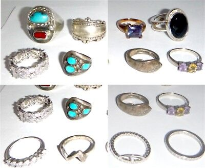 Lot Of Sterling Silver Vintage & Modern Rings 92.5 Grams Assorted Sizes