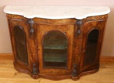 Antique 19th Victorian Inlaid Walnut Credenza