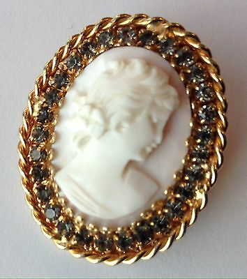 1965 Vintage Hobe Signed Pink White Cameo And Rhinestone Brooch / Pendant