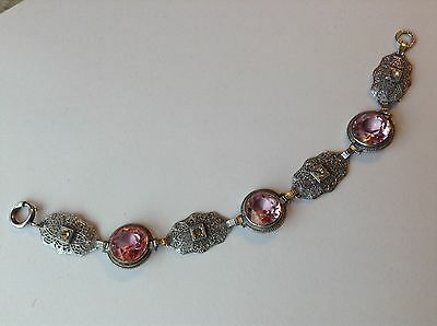Vintage Art Deco Pink And Clear Rhinestone & Filigree Panel Bracelet
