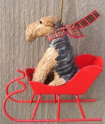Airedale Terrier Metal SLEIGH Ornament!