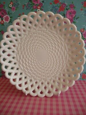 Plate-Bowl Sowerby White Milk Glass Reticulated Basket Weave Victorian