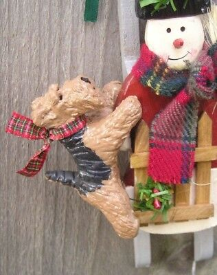 Welsh Terrier Wood SNOWMAN SLED Ornament!