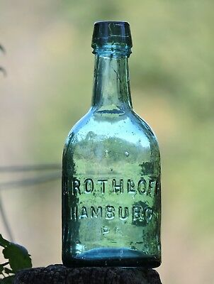 J. Rothloff Hamburg, Pa. Green Double Taper Top Squat Soda Bottle