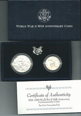 1991-1995 World War Ii 50Th Anniversary Commemorative Two-Coin Uncirculated Set.