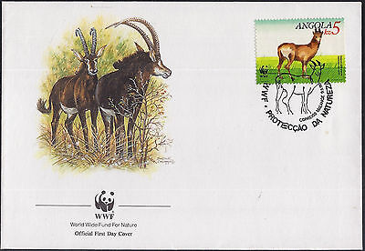 Angola 1990 World Wildlife Fund Cover With Antelope And Pictorial Postmark