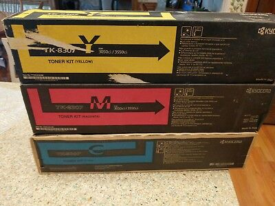 New Genuine Kyocera TK-8307 CMY Color Toner Kits OEM  Sealed NEW!!
