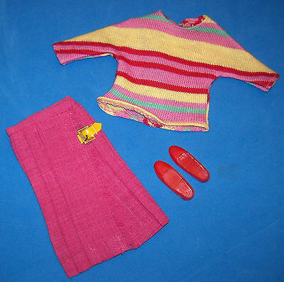 Vintage Francie Doll #1272 Hi-Teen 1967 Striped Top & Pleated Skirt Complete