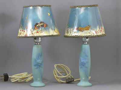 Pair Van Briggle Lamps Original Shades Butterfly & Passionflower
