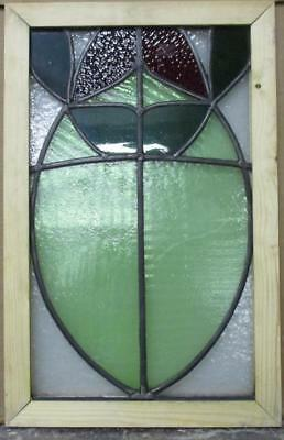 "OLD ENGLISH LEADED STAINED GLASS WINDOW Abstract Floral 14"" x 22"""