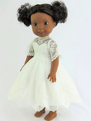 """White Lace Dress Fits Wellie Wishers 14.5"""" American Girl Clothes"""