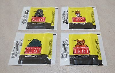 """1983 Topps """"Return of the Jedi - Series 1"""" - All 4 Wax Pack Wrapper Variations"""